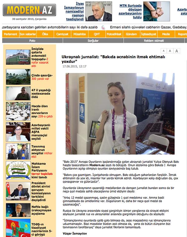 """modern.az, Ukraynalı jurnalist: """"Bakıda əcnəbinin itmək ehtimalı yoxdur"""", 17.06.2015"""